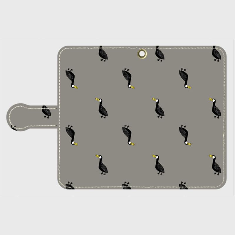 MOMENT BIRD GRAY 手帳型スマホケース Android S サイズ