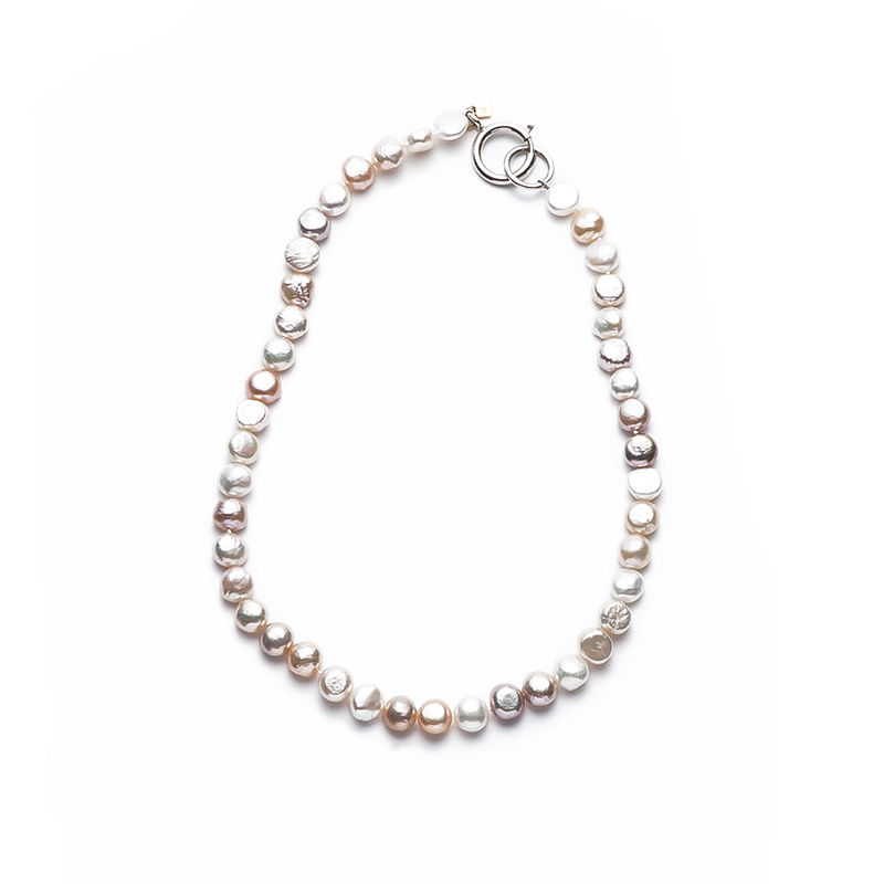 Pink Mermaid Pearl Short Silver Clasp