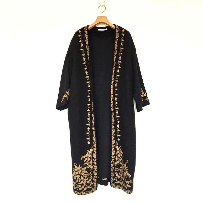 <women>ne Quittez pas(ヌキテパ) ウール刺繍ローブコートWool Emb Belt Coat(011082364) / NAVY