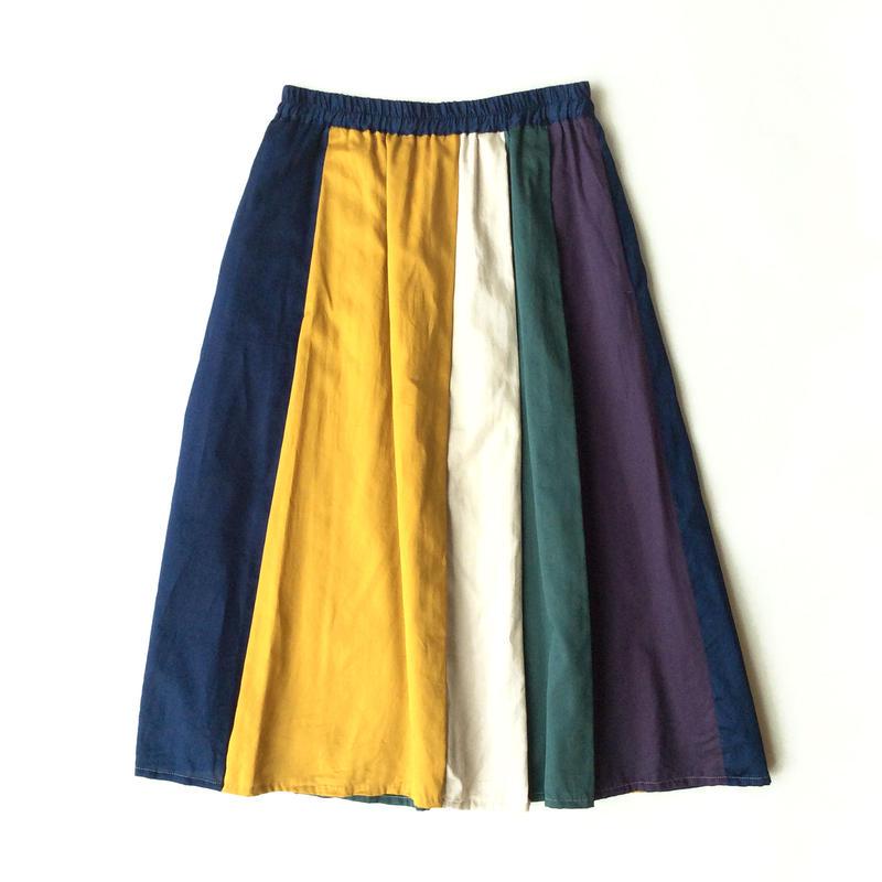 <women>FIL DE FER(フィルデフェール)マルチカラー切り替えギャザースカート /ブルー系