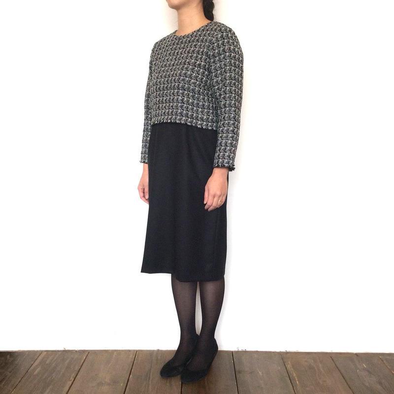 <women> Michel Beaudouin(ミッシェル ボードワン)ファンシーツイード×スカート ドッキングワンピース(MB-B1809) / ホワイト×ブラック