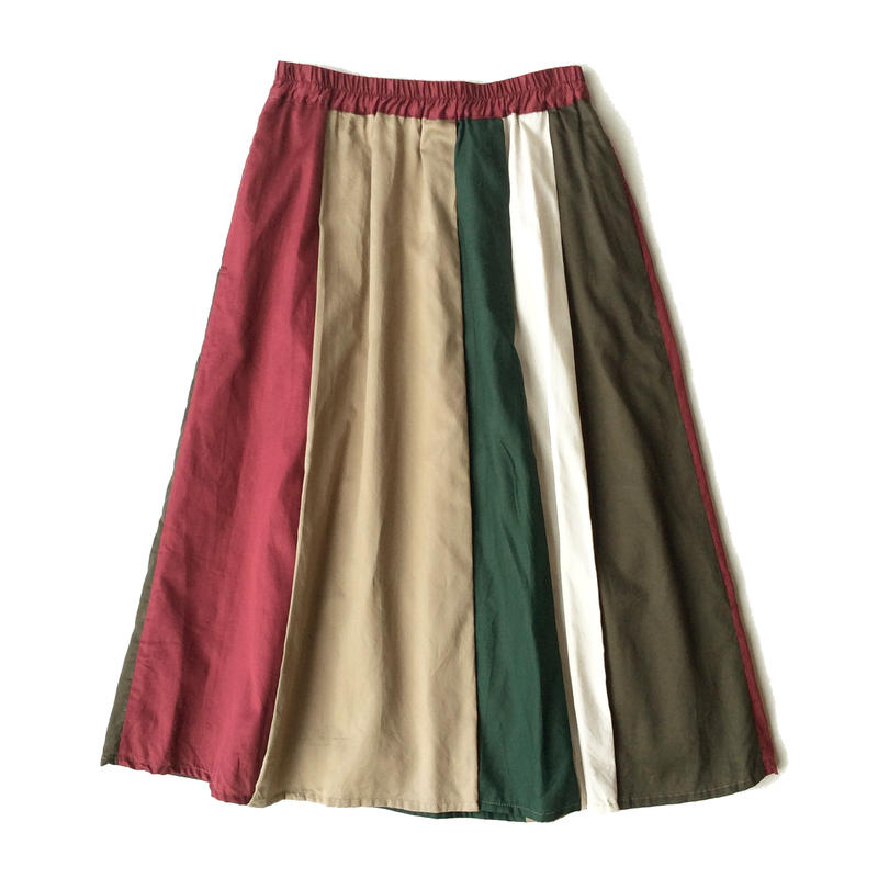 <women>FIL DE FER(フィルデフェール)マルチカラー切り替えギャザースカート /ボルドー系