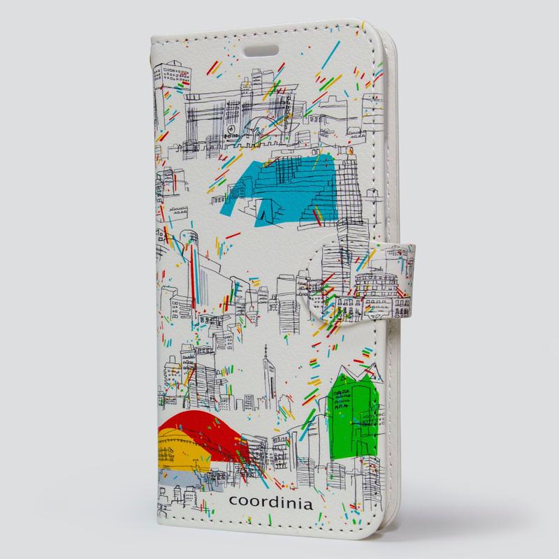 コーディニア iPhone ケース(手帳型)福岡街並み ホワイト