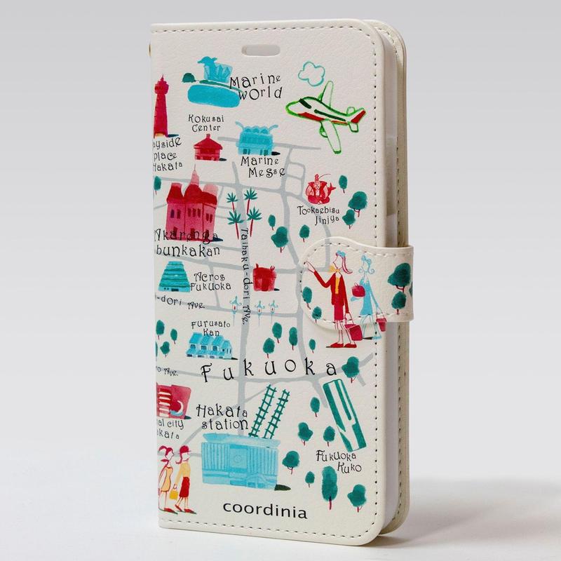 コーディニア iPhone ケース(手帳型)福岡地図 ボルドー