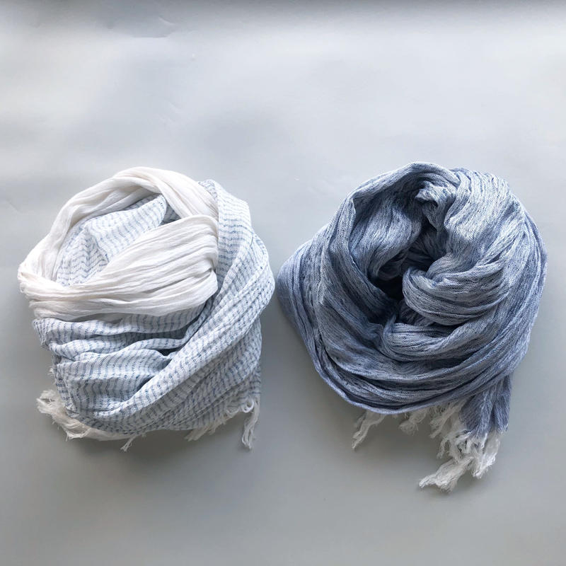 "-NEW- silk/cotton ""SOFT CRAPE"" stole [blue-border/blue]"