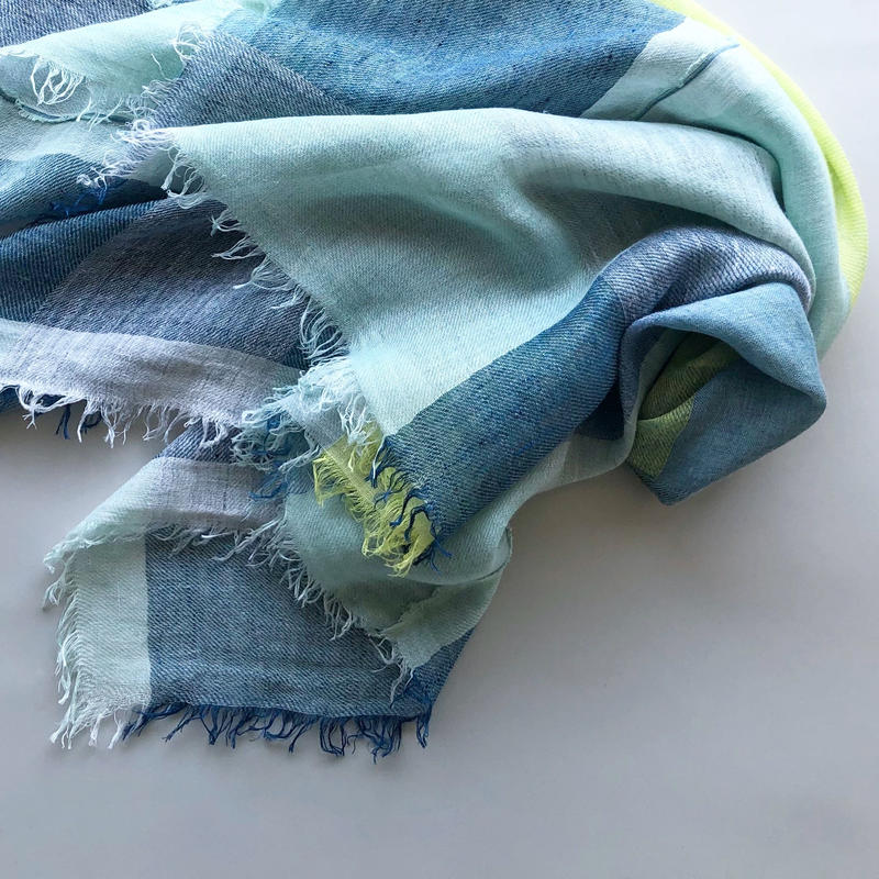 "-NEW- ""LINEN BROCK CHECK"" stole [emerald×blue]"
