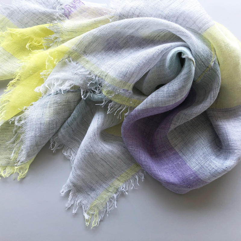 "-NEW- ""LINEN BROCK CHECK"" stole [yellow×purple]"