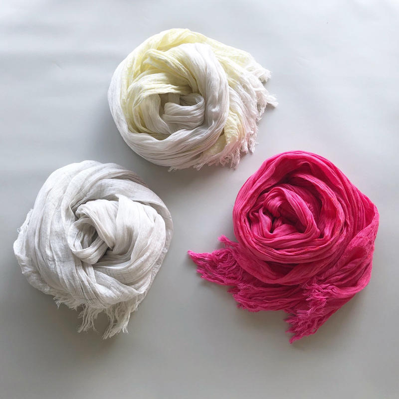 "-NEW- silk/cotton ""SOFT CRAPE"" stole [lightgray/yellow/pink]"