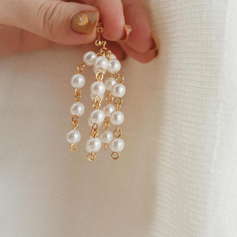 [gold]pearl shower pierce/earring