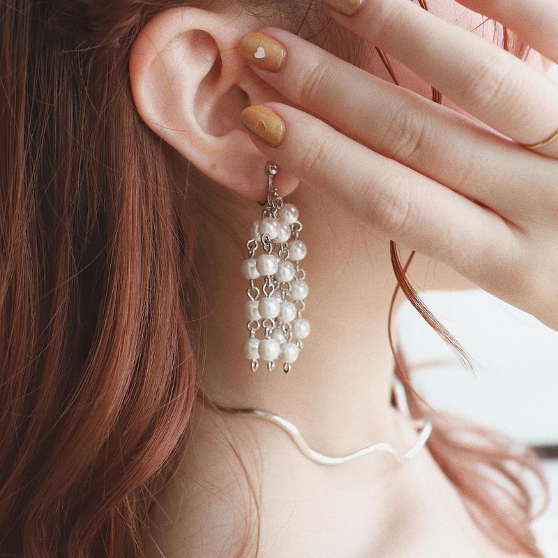 [silver]pearl shower  pierce/earring