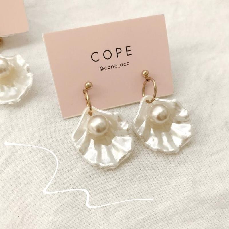 [gold]shell pearl  pierce/earring