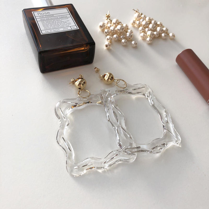 [gold]clear frame  pierce/earring