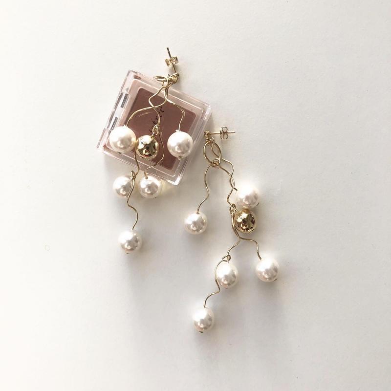 [gold]une pearl ball pierce/earring