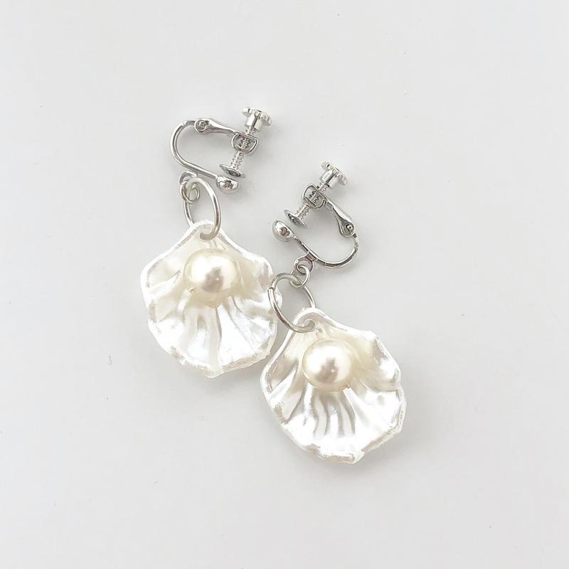 [silver]shell pearl  pierce/earring