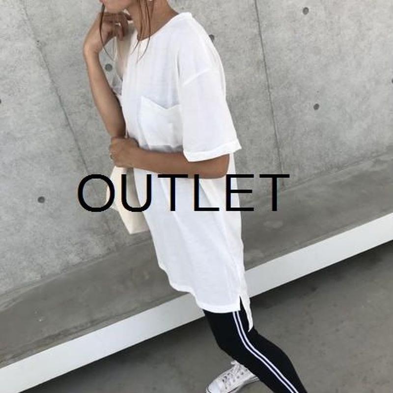 【OUTLET】シンプルロングTシャツ/チュニック(ホワイト)【クリックポスト対象商品】