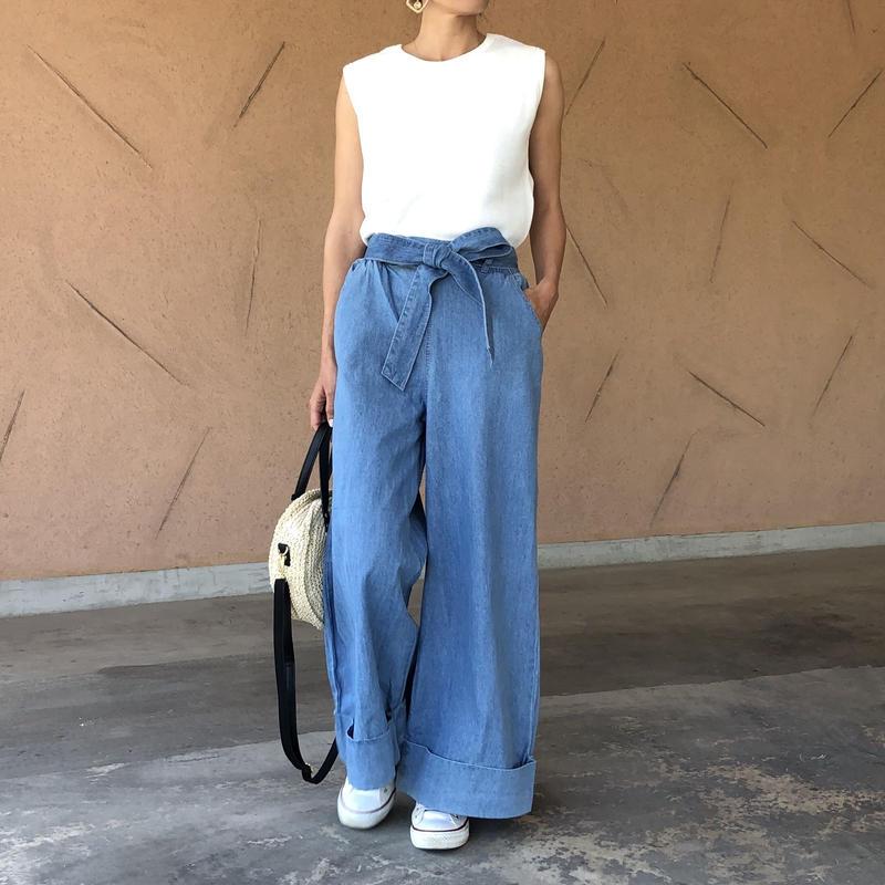 ウエストリボン裾ロールアップワイドデニム(2color)【クリックポスト対象商品】