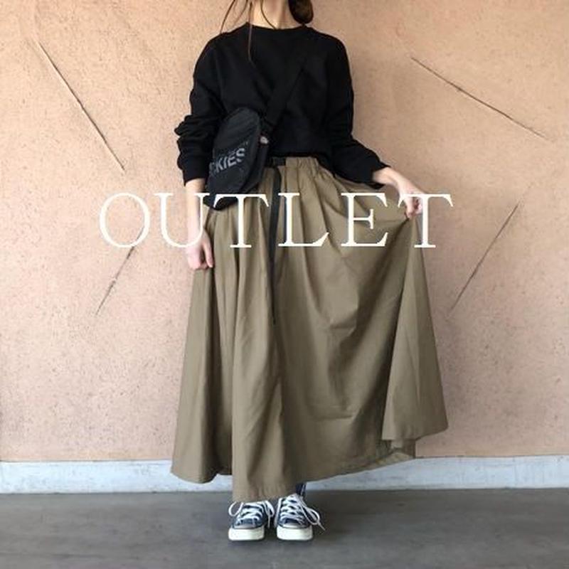 【OUTLET】ウェビングベルト付きボリュームフレアスカート【クリックポスト対象商品】