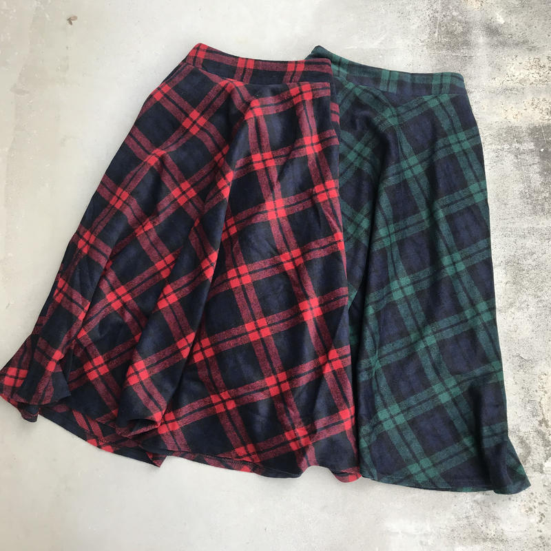 チェック柄フレアロングスカート (2color)【クリックポスト対象商品】