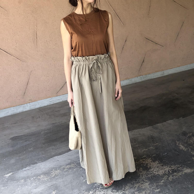 大人可愛い!ウエストギャザーロングスカート (4color)【クリックポスト対象商品】
