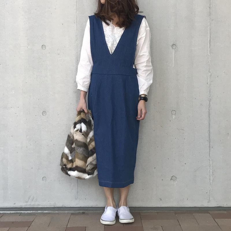 ゆる可愛いデニムジャンパースカート(2color)【クリックポスト対象商品】