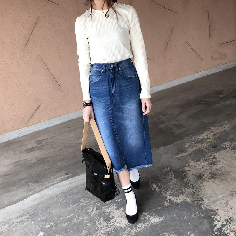 裾フリンジアシンメトリーデニムスカート【クリックポスト対象商品】