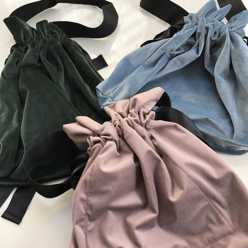柔らかスエード調巾着バッグ(3color)【クリックポスト対象商品】