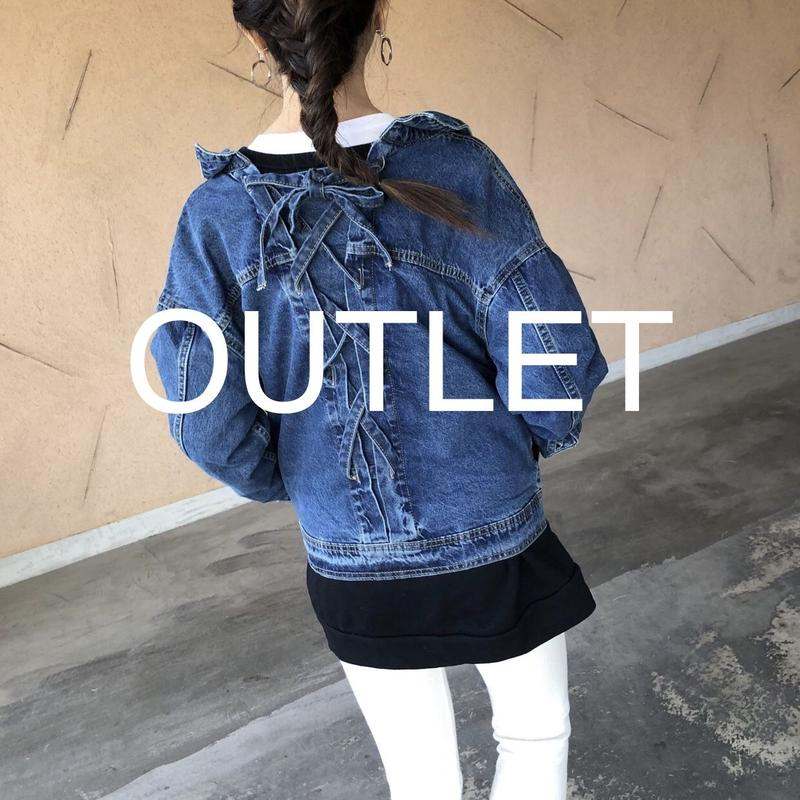 【OUTLET】BACKレースアップ抜き襟Gジャン【クリックポスト対象商品】
