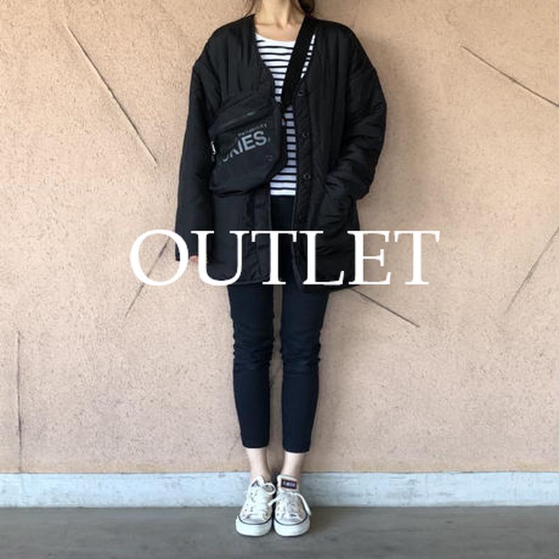 【OUTLET】中綿ボアリバーシブルキルティングジャケット(ブラック)