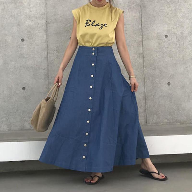 大好評!再入荷!前開きフレアシルエットロングデニムスカート(2color)【クリックポスト対象商品】