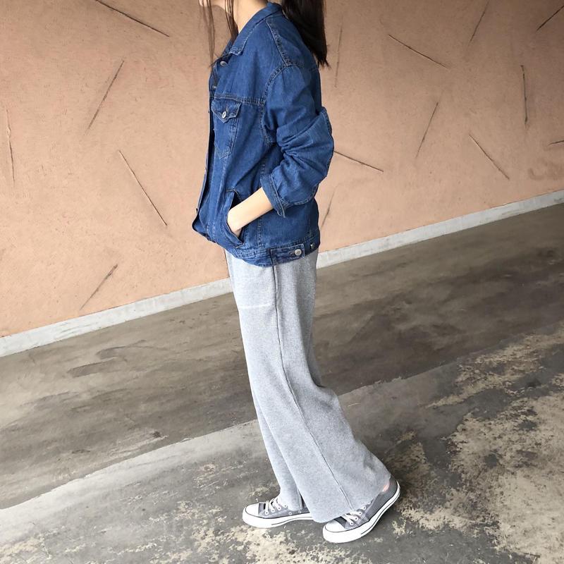 サーマルワッフル裾スリットワイドパンツ(2color)