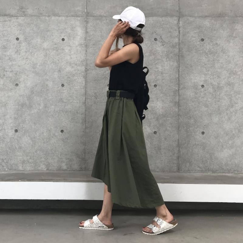 ベルト付きフィッシュテールチノロングスカート(2color)【クリックポスト対象商品】