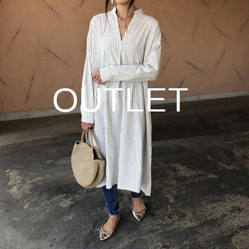 【OUTLET】ストライプスキッパーロングシャツ ワンピース(ホワイト)【クリックポスト対象商品】