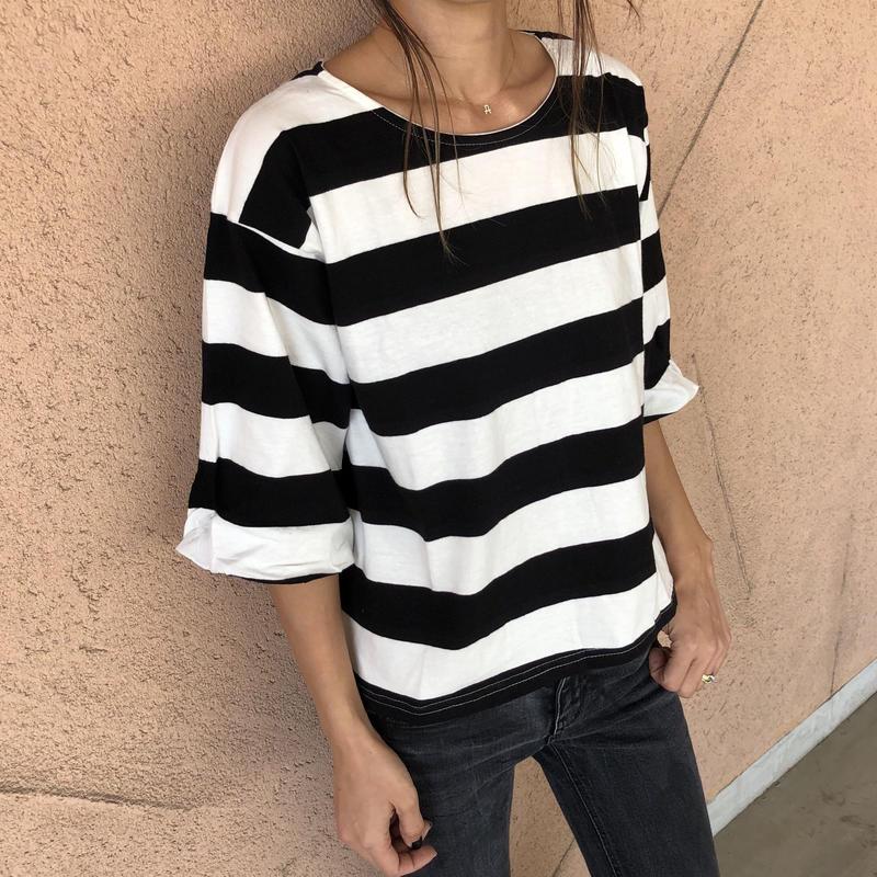 ゆったりバルーン袖ワイドボーダーTシャツ【クリックポスト対象商品】