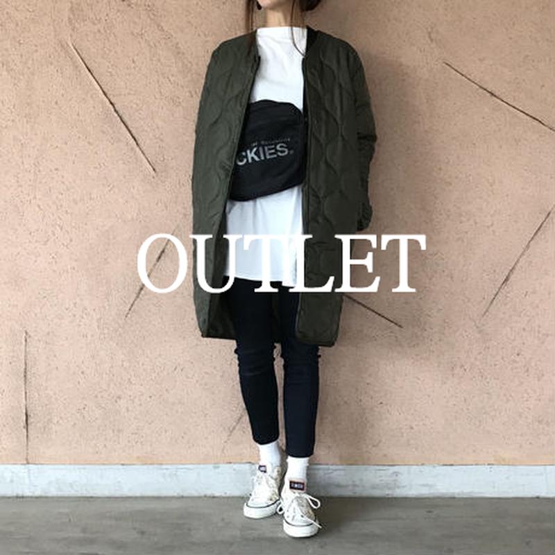 【OUTLET】ノーカラーミドル丈キルティングコート/ライトアウター