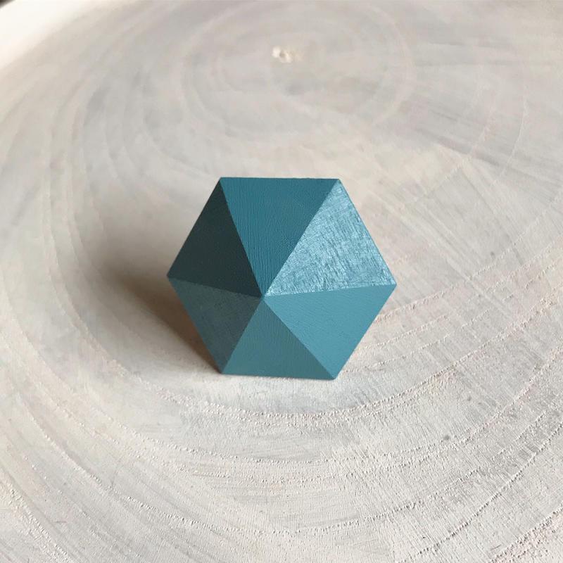 六角形イヤリング(スモーキーアクア)