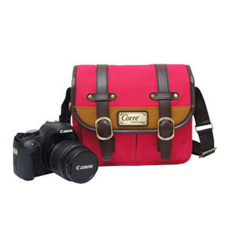カメラバッグとしても使用可能!丈夫でかわいいショルダーポーチ(ピンク)