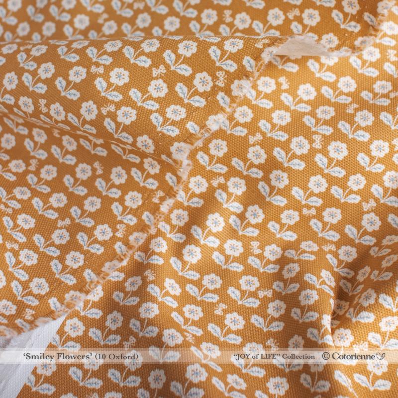 Smiley Flowers -khaki (CO152138 C)しっかり厚手生地