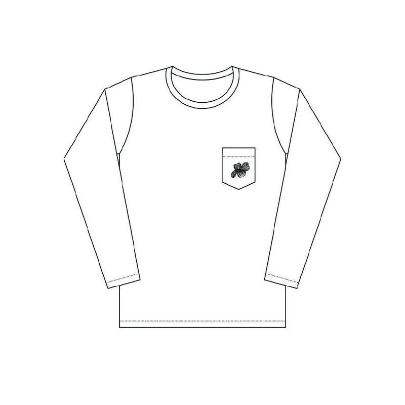 「hanamizuki」長袖プリントTシャツ (胸ポケット付)