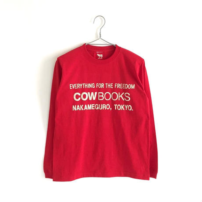 Book Vender Long sleeve T-shirt (Logo /Redb×Ivory)