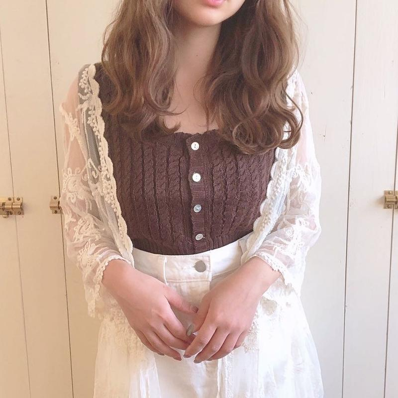 summer knit front button no sleeve (chocolate)