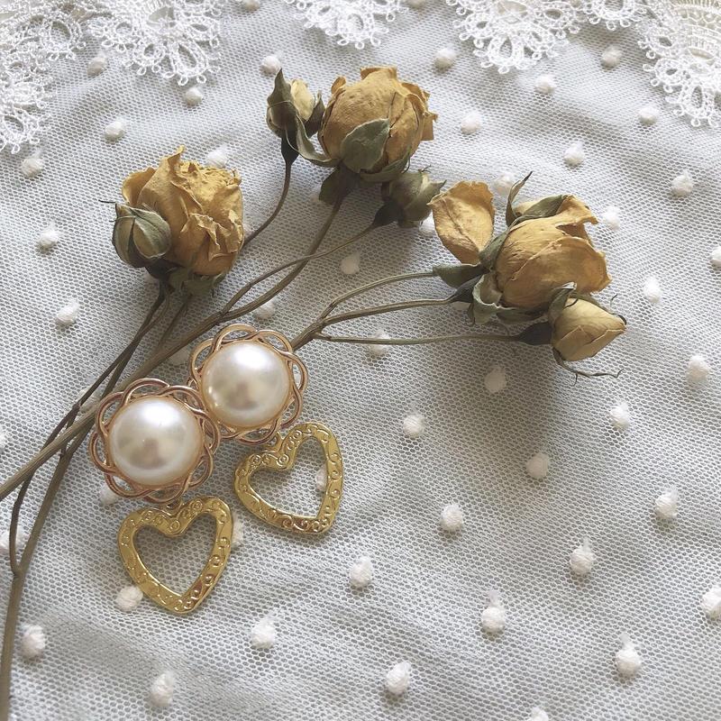 flower pearl gold heart earring