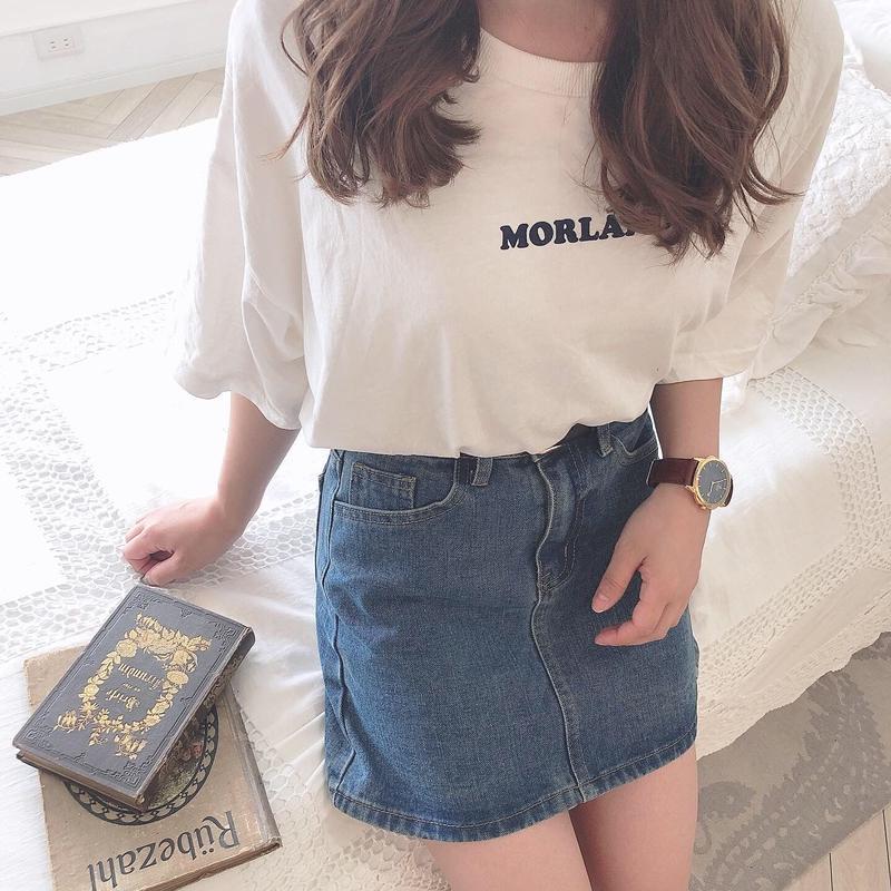 simple denim mini skirt (blue)