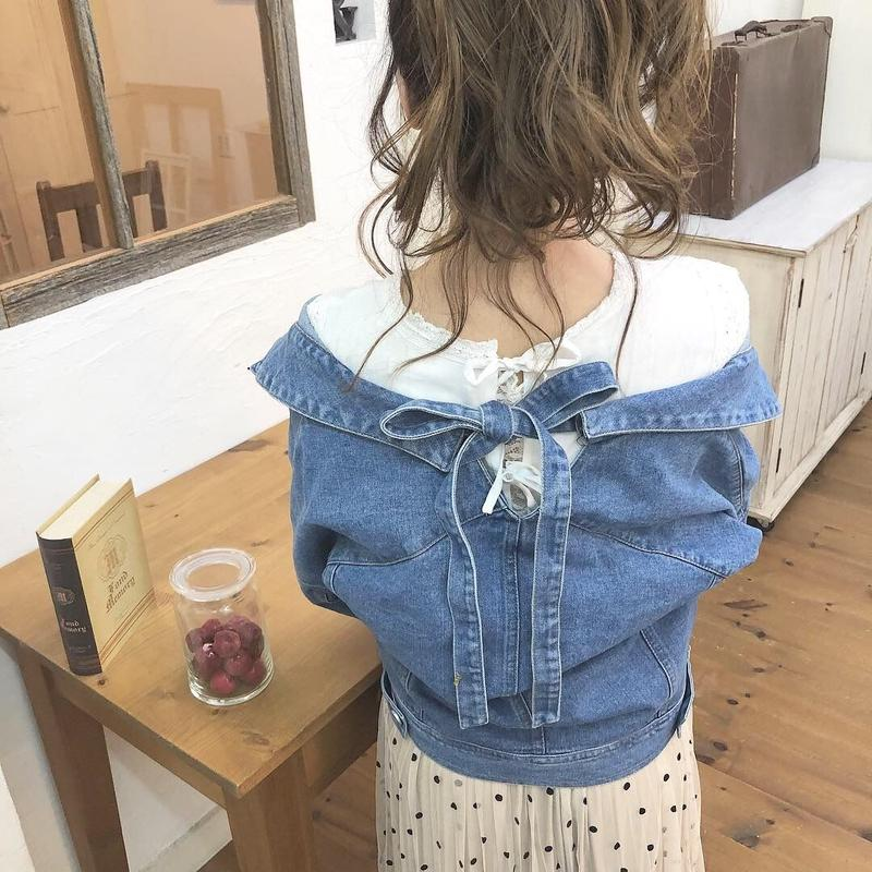 back ribbon denim jacket