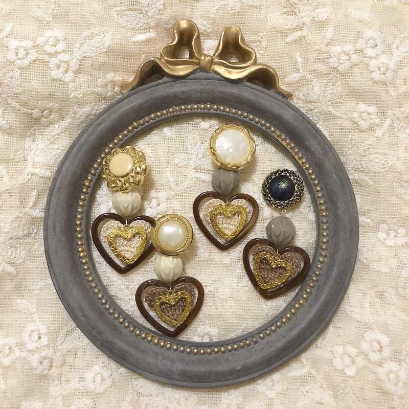 heart knit retro earring