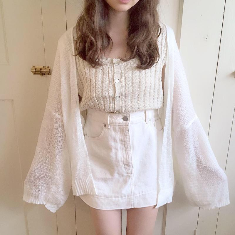 summer knit cardigan (white)