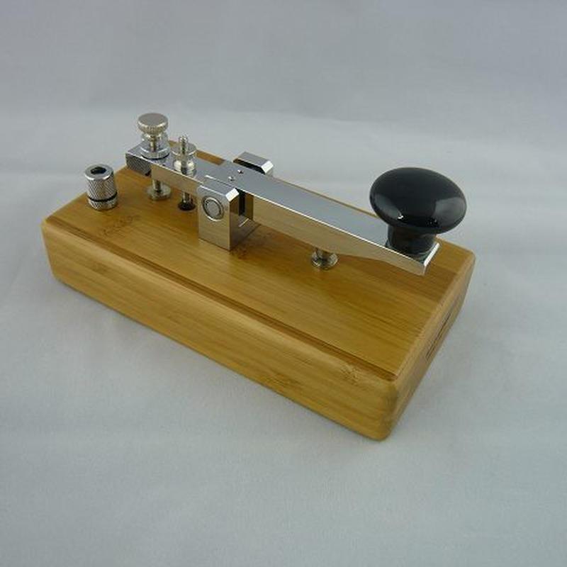 竹台座縦ぶり電鍵モールス練習機(Bamboo Base Morse Trainer)