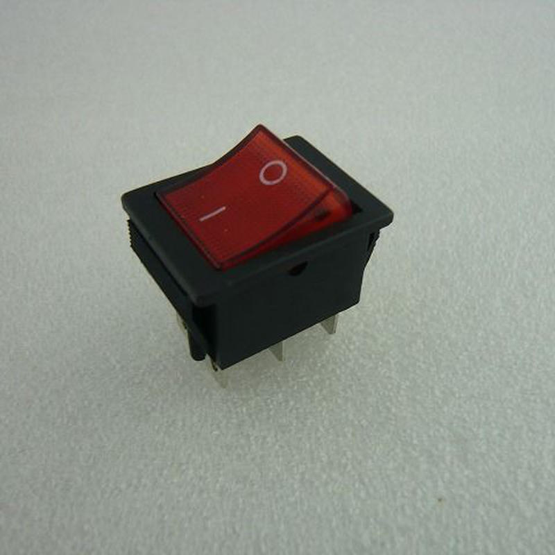 角型ロッカースイッチ 赤 ネオン管付 ( Power Swtch with RED Lamp )