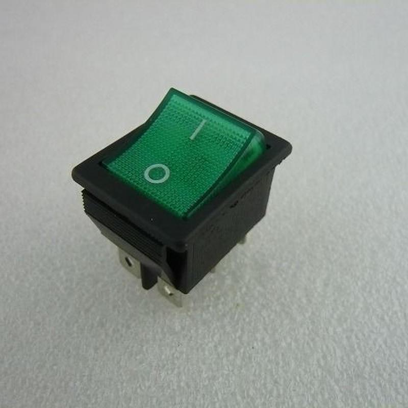 角型ロッカースイッチ 緑 ネオン管付 ( Power Swtch with GREEN Lamp )