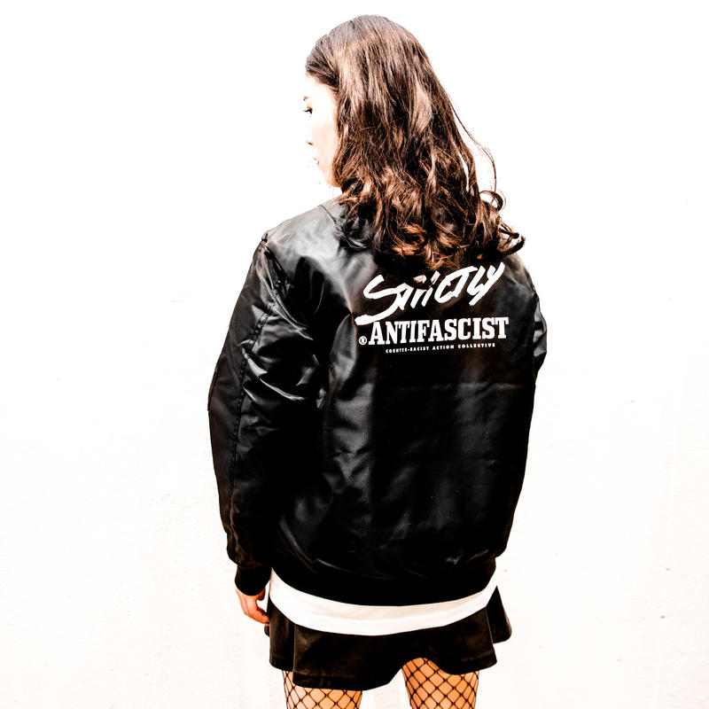 [予約受付中] Strictly Antifascist Flight Jacket (black / back printed)