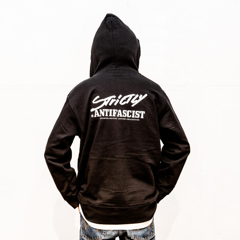 Hoodie: Strictly Antifascist (black / back printed / full zip)